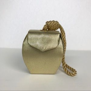 Handbags - Gold Evening Bag with rope handle
